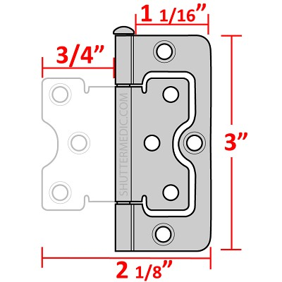 "H555  Non Mortise Flag Hing  (3"" x 1 1/16"")"